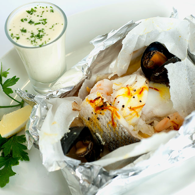 Great shot of a seafood main created by Jamie Beetham of Beetham Food.