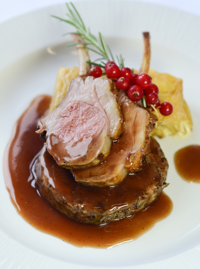 Roast dinner dressed with cranberries for a private dining client