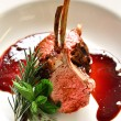 Rack of lamb in a rich sauce.