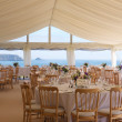 Shot of the scenery of the dining space by the coast, catered by Beetham Food.