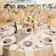 Photo of the dining space at a wedding catered by Beetham Food.